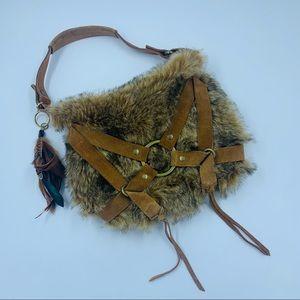 LUCKY BRAND EUC Brown Suede & Fur Purse